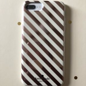 ♠️Rose Gold Striped Kate Spade iPhone 8 Plus Case